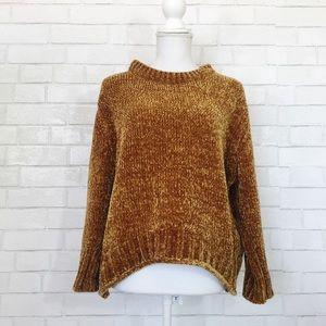 Max Studio Gold Mustard Boxy Chenille Sweater